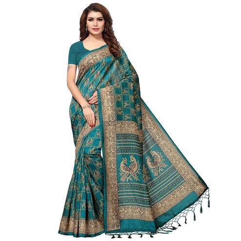 Sophisticated Teal Blue Colored Casual Printed Kashmiri Silk Saree