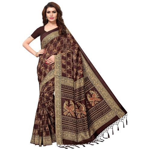 Demanding Brown Colored Casual Printed Kashmiri Silk Saree