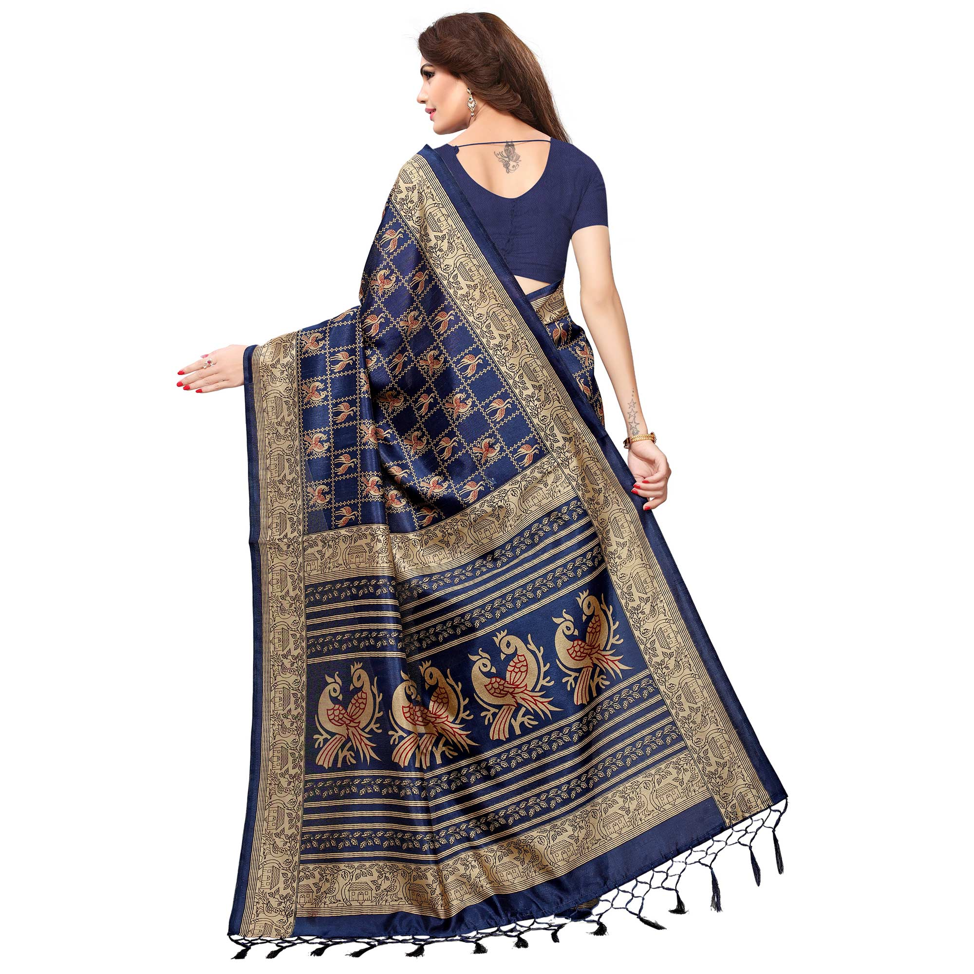 Pleasant Blue Colored Casual Printed Kashmiri Silk Saree
