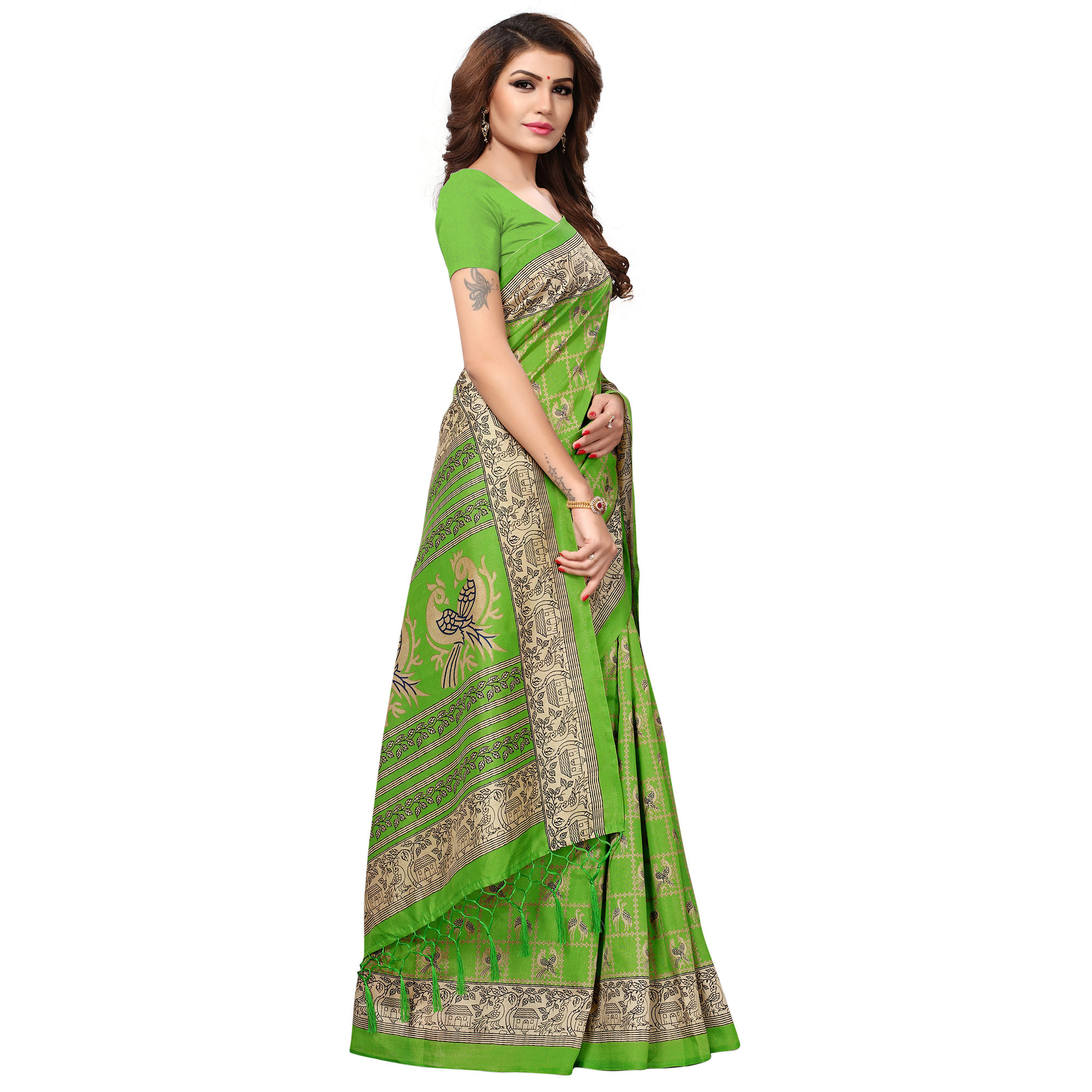 Unique Bright Green Colored Casual Printed Kashmiri Silk Saree