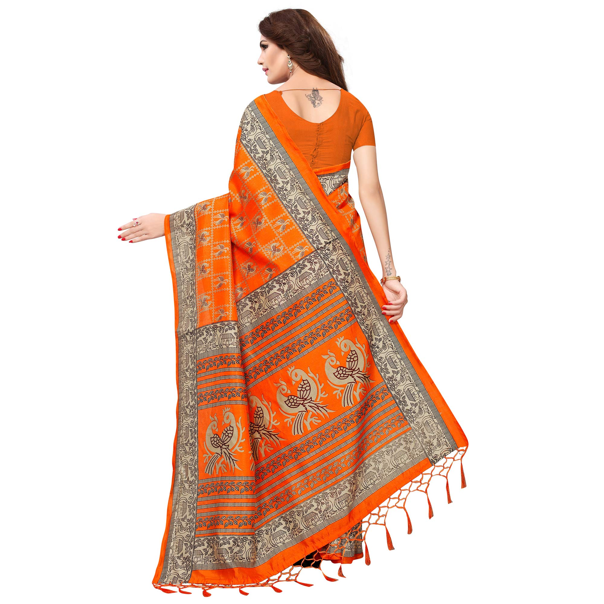 Refreshing Orange Colored Casual Printed Kashmiri Silk Saree