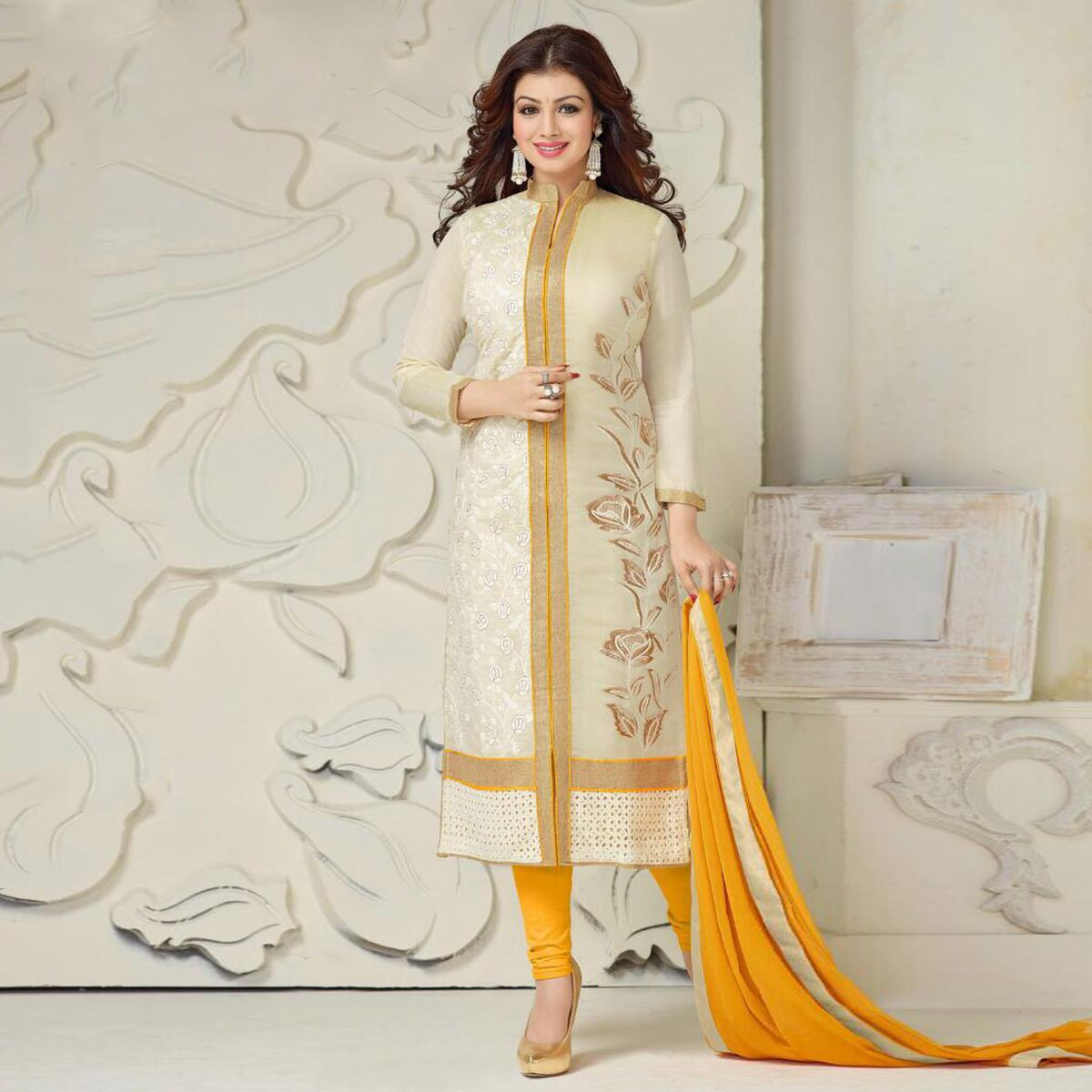 Classy Off-white and Yellow Embroidered Semi Stitched Salwar Suit