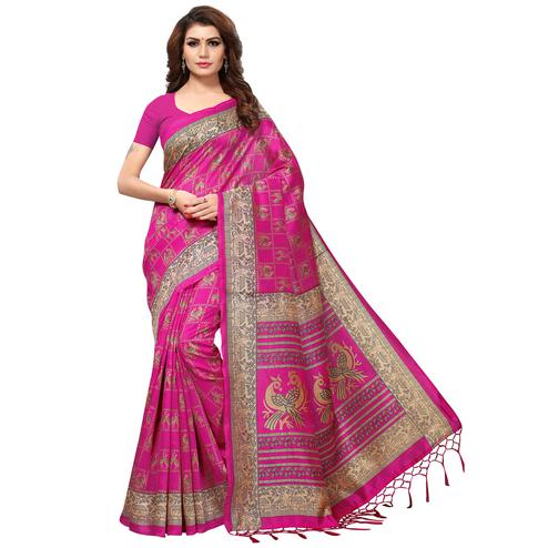 Elegant Pink Colored Casual Printed Kashmiri Silk Saree