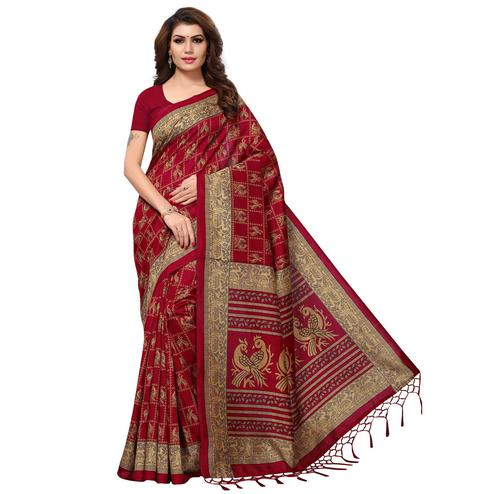Alluring Maroon Colored Casual Printed Kashmiri Silk Saree