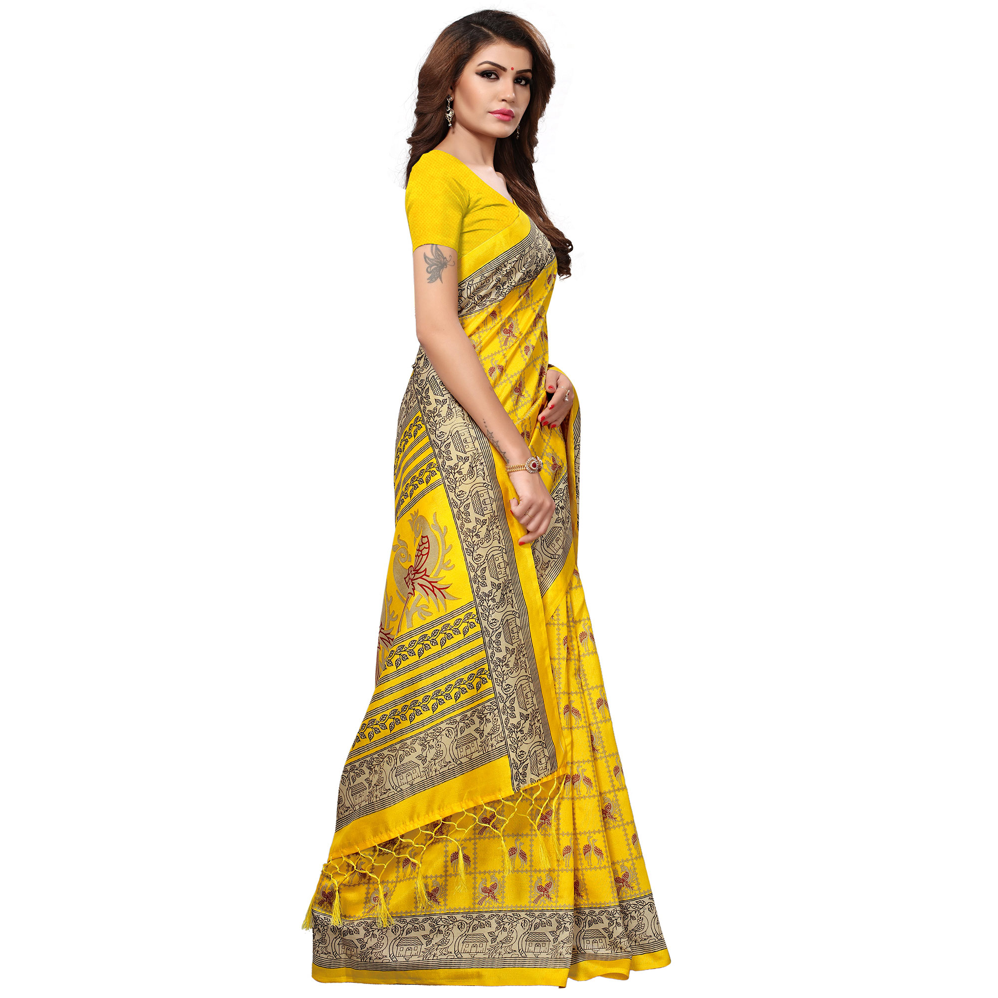 Radiant Yellow Colored Casual Printed Kashmiri Silk Saree