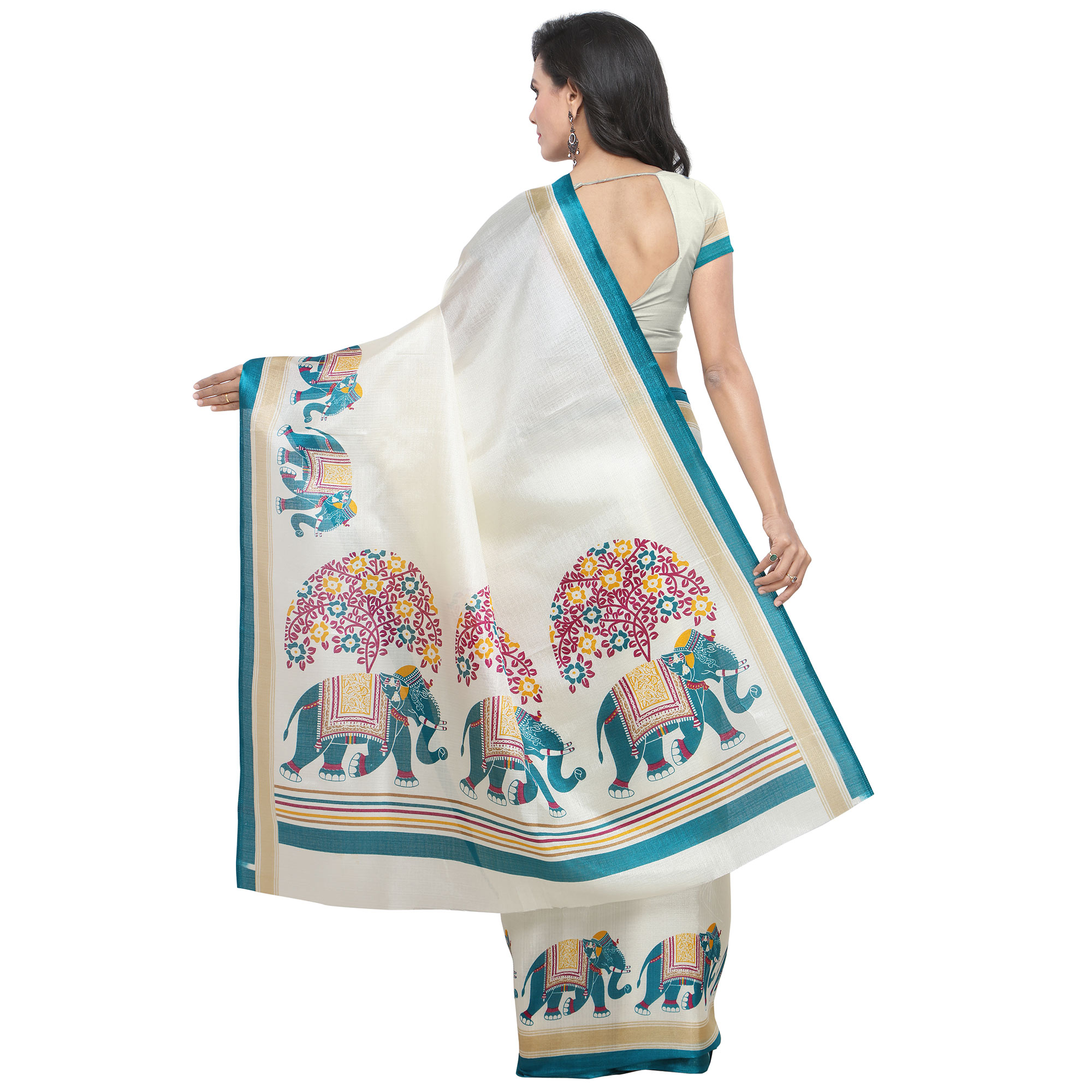 Impressive White-Teal Blue Colored Casual Printed Khadi Silk Saree