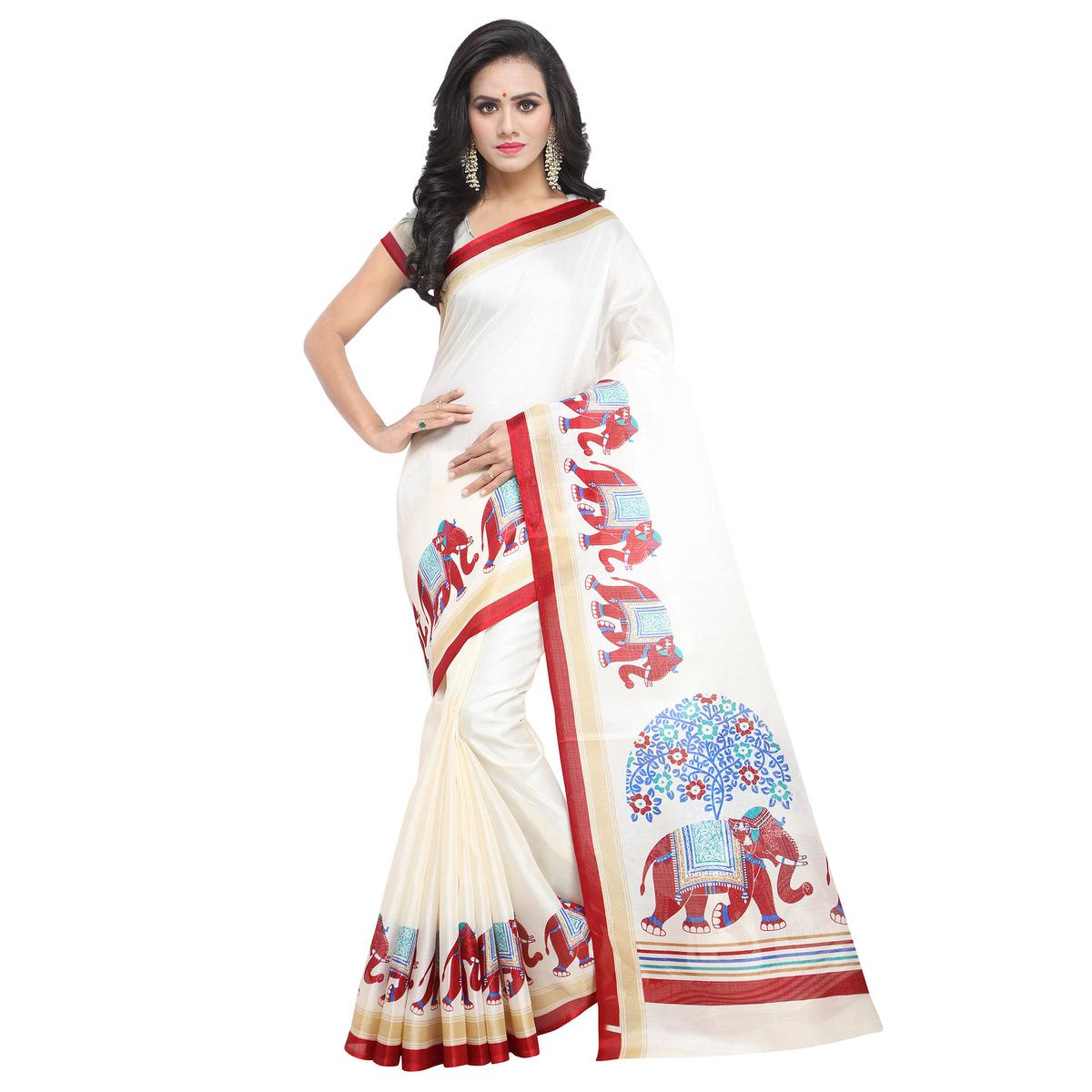 Innovative White-Red Colored Casual Printed Khadi Silk Saree