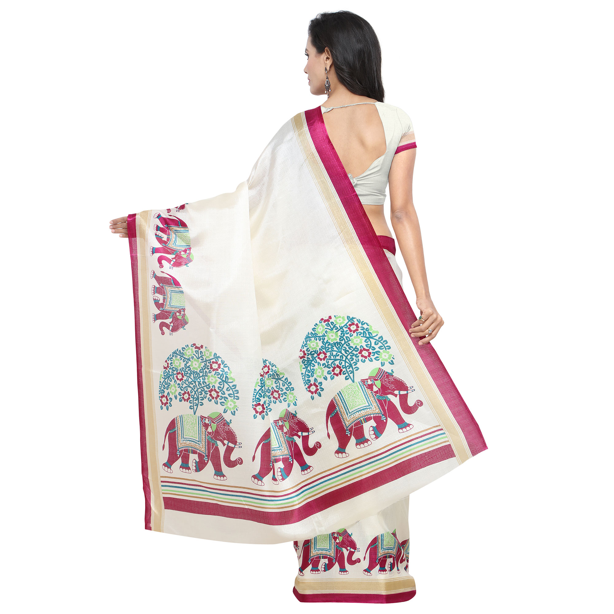 Gleaming White-Pink Colored Casual Printed Khadi Silk Saree