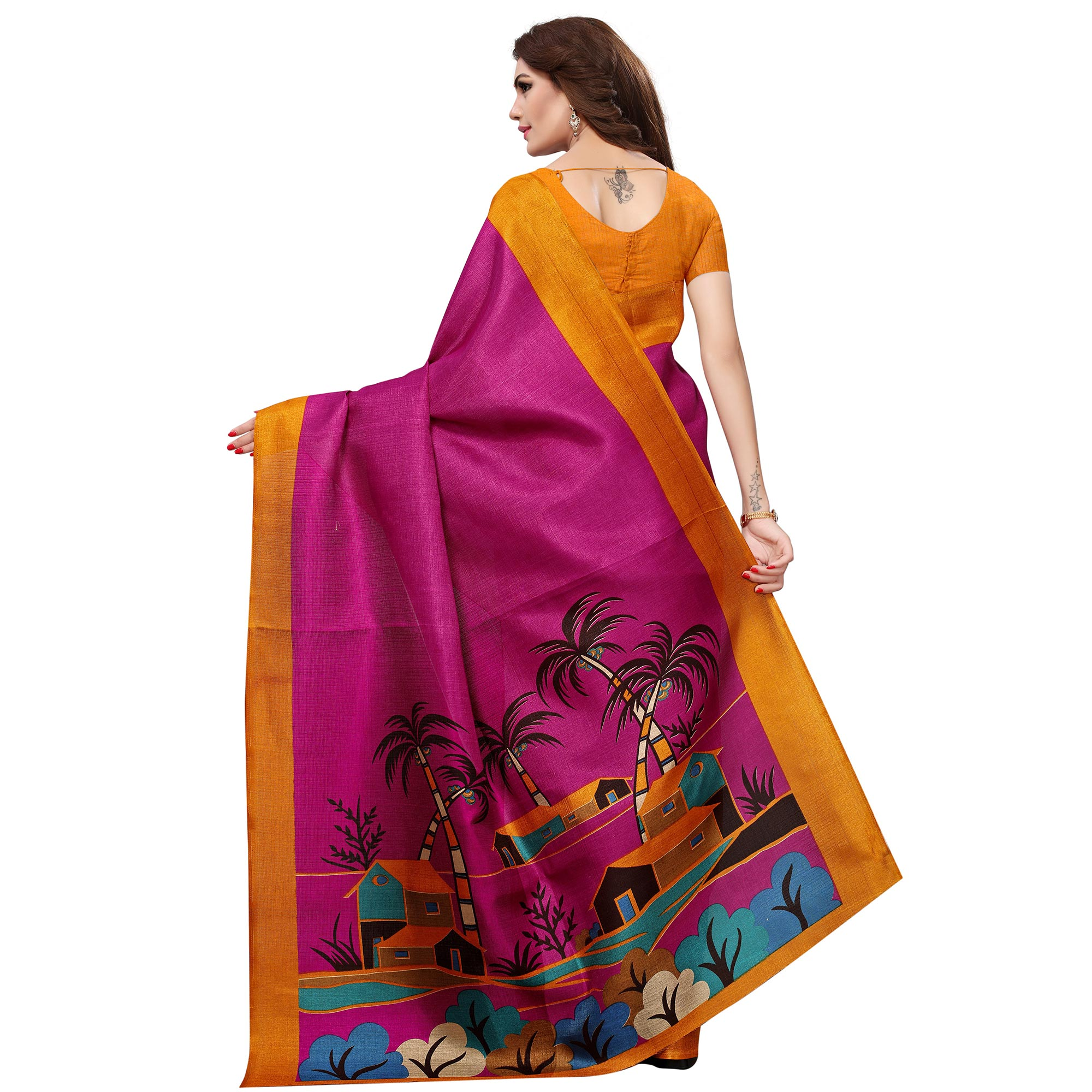 Arresting Magenta Pink Colored Casual Printed Khadi Silk Saree