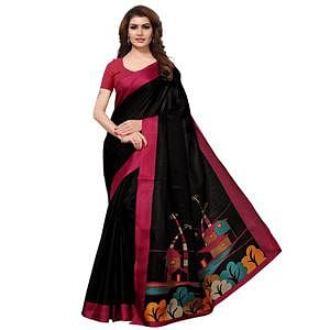 Exceptional Black Colored Casual Printed Khadi Silk Saree