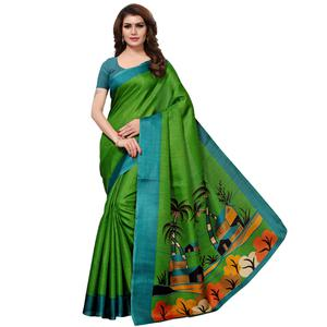 Excellent Green Colored Casual Printed Khadi Silk Saree