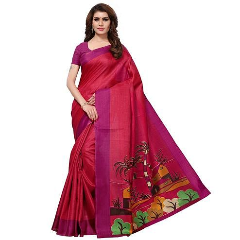 Ethnic Deep Pink Colored Casual Printed Khadi Silk Saree