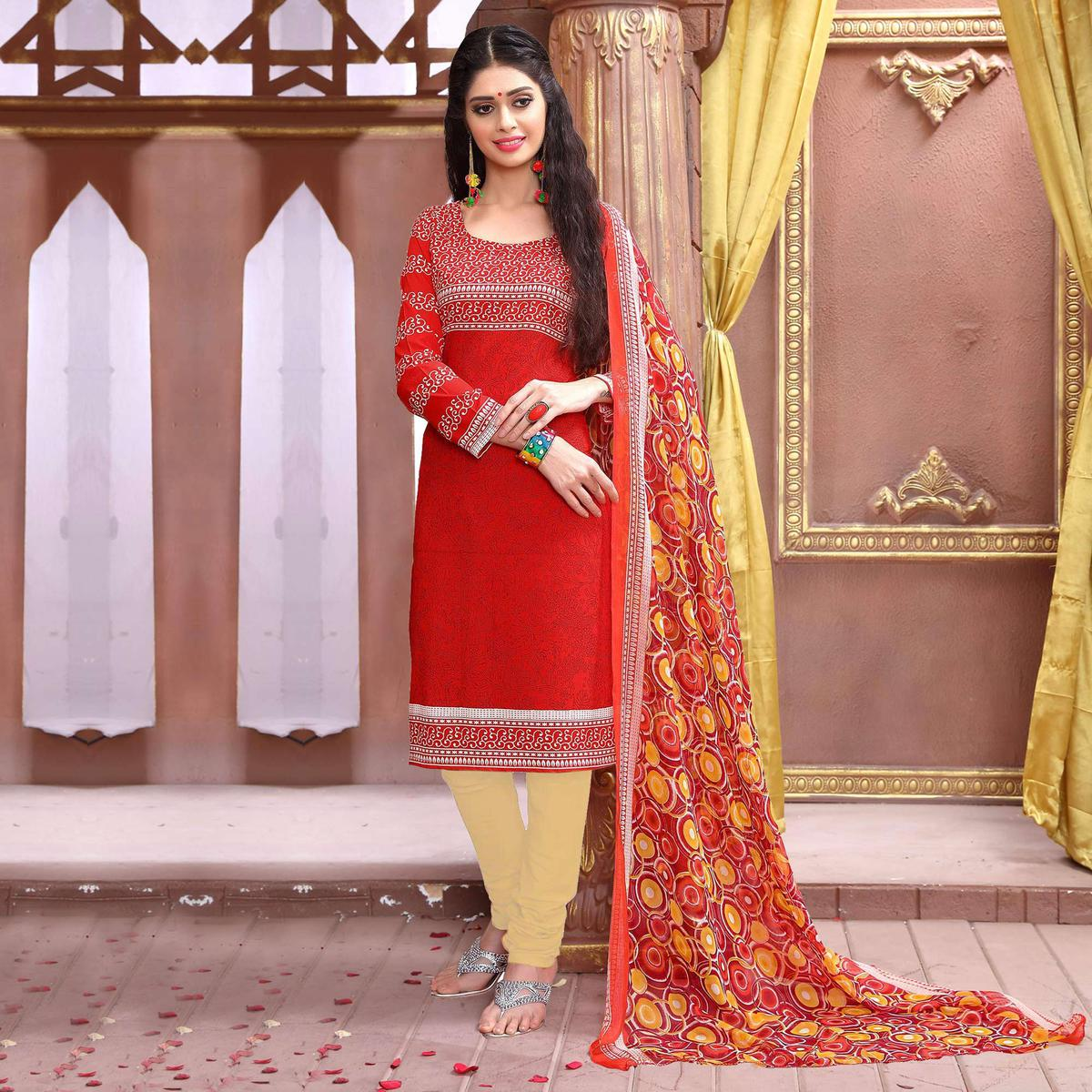 Red Leon Fabric Printed Suit