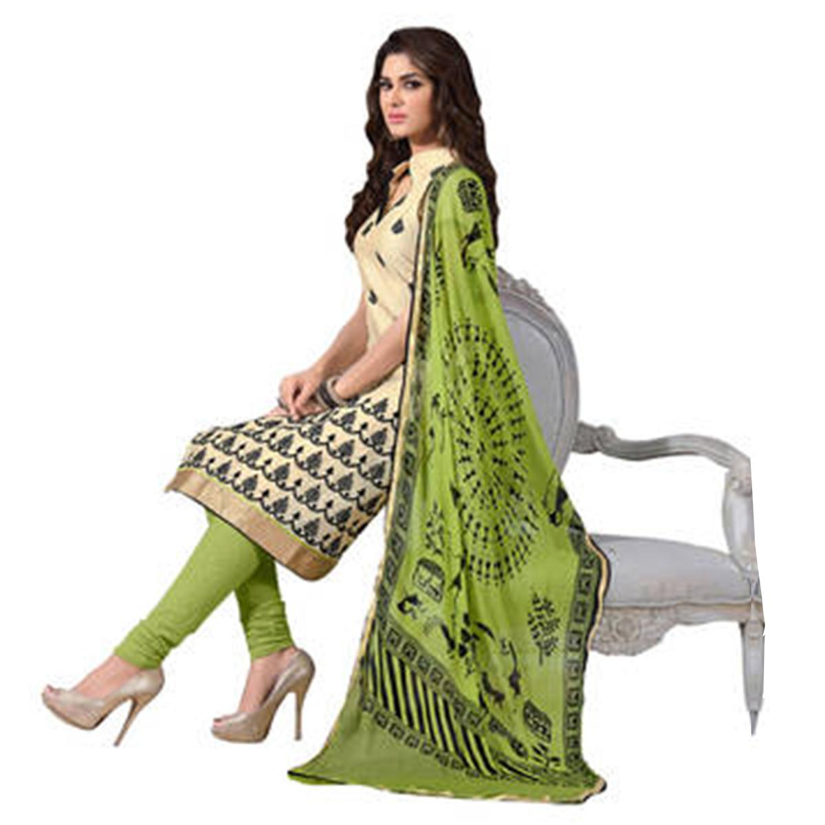 Adorable Chiku and Green Embroidered Semi Stitched Salwar Suit
