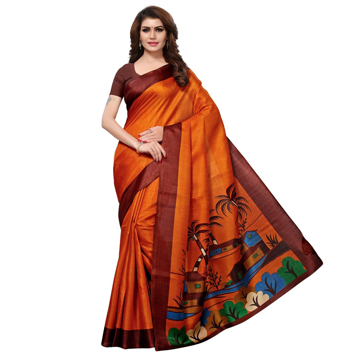 Starring Orange Colored Casual Printed Khadi Silk Saree