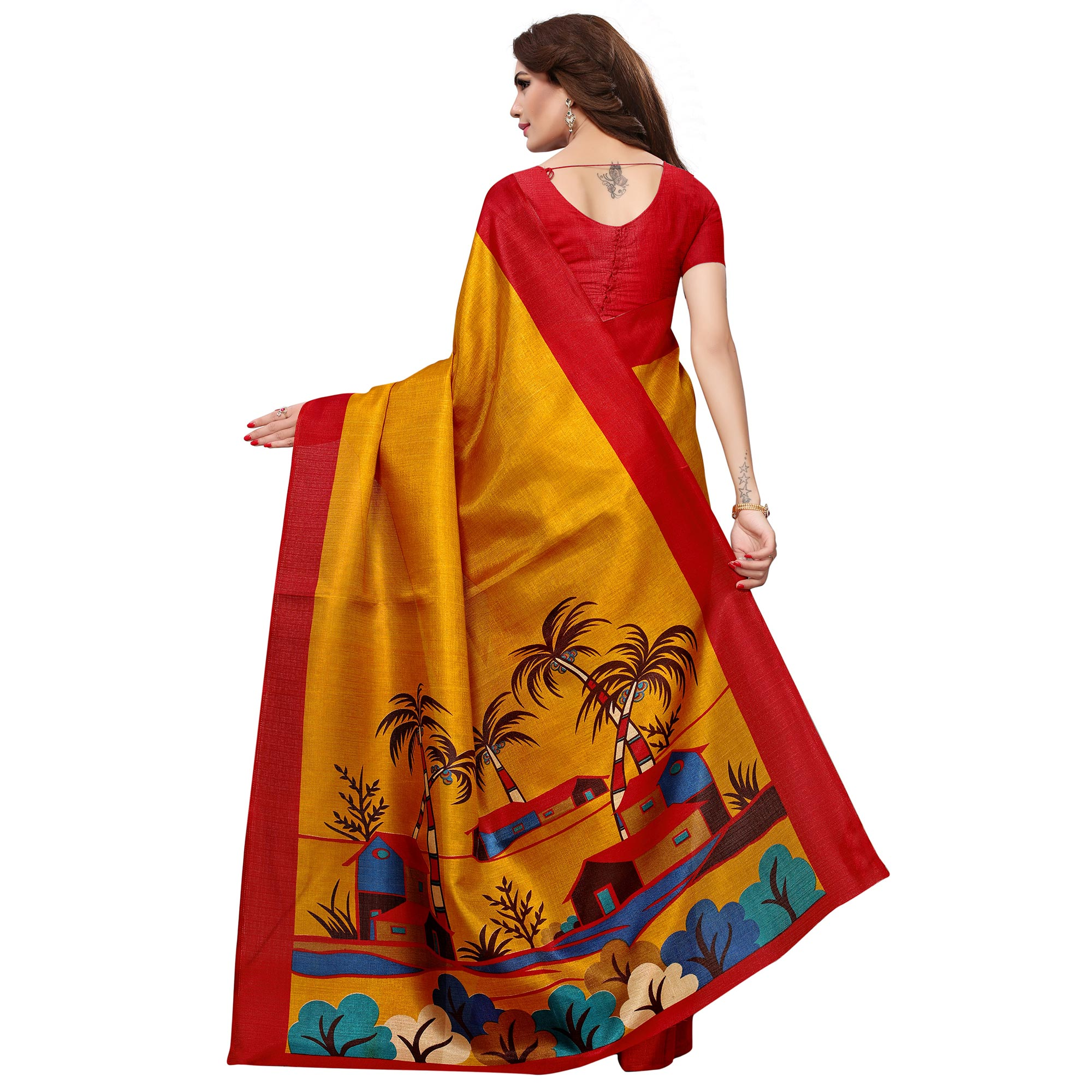 Surpassing Mustard Yellow Colored Casual Printed Khadi Silk Saree