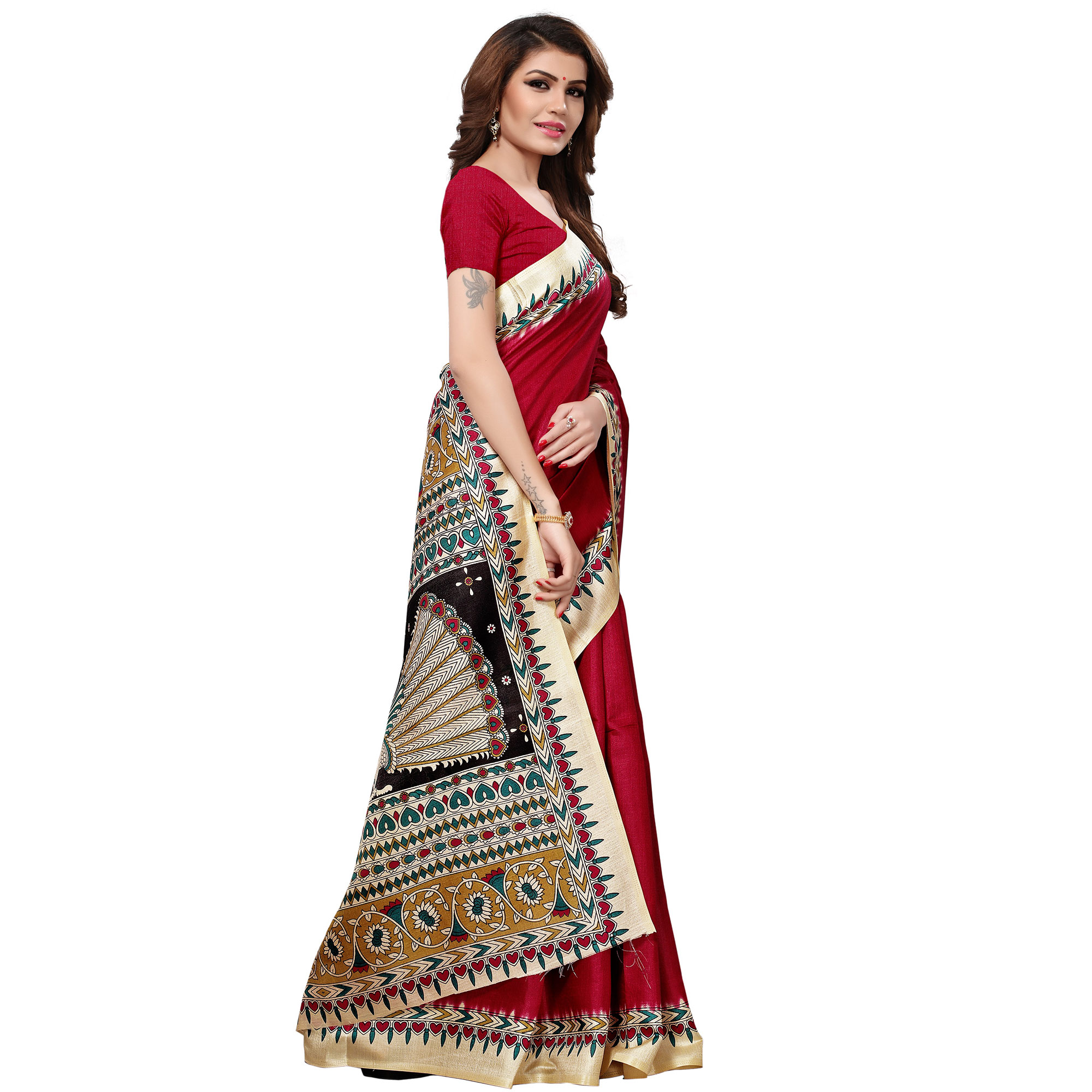 Entrancing Red Colored Casual Printed Khadi Silk Saree