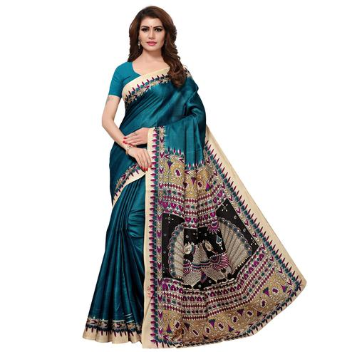 Imposing Teal Blue Colored Casual Printed Khadi Silk Saree