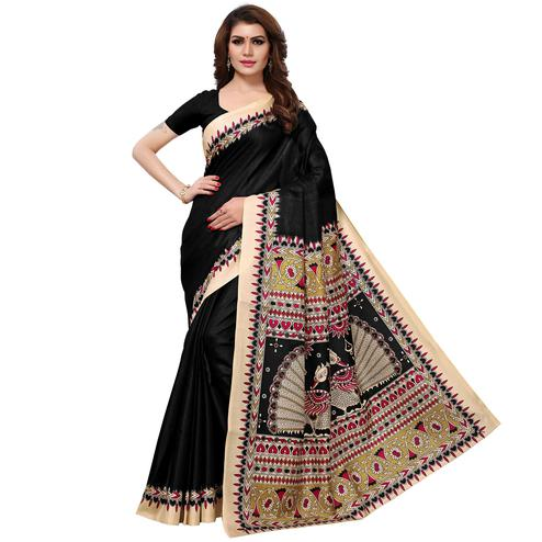 Ideal Black Colored Casual Printed Khadi Silk Saree