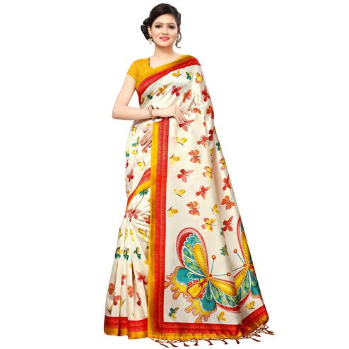 Fantastic Cream-Yellow Colored Casual Printed Khadi Silk Saree