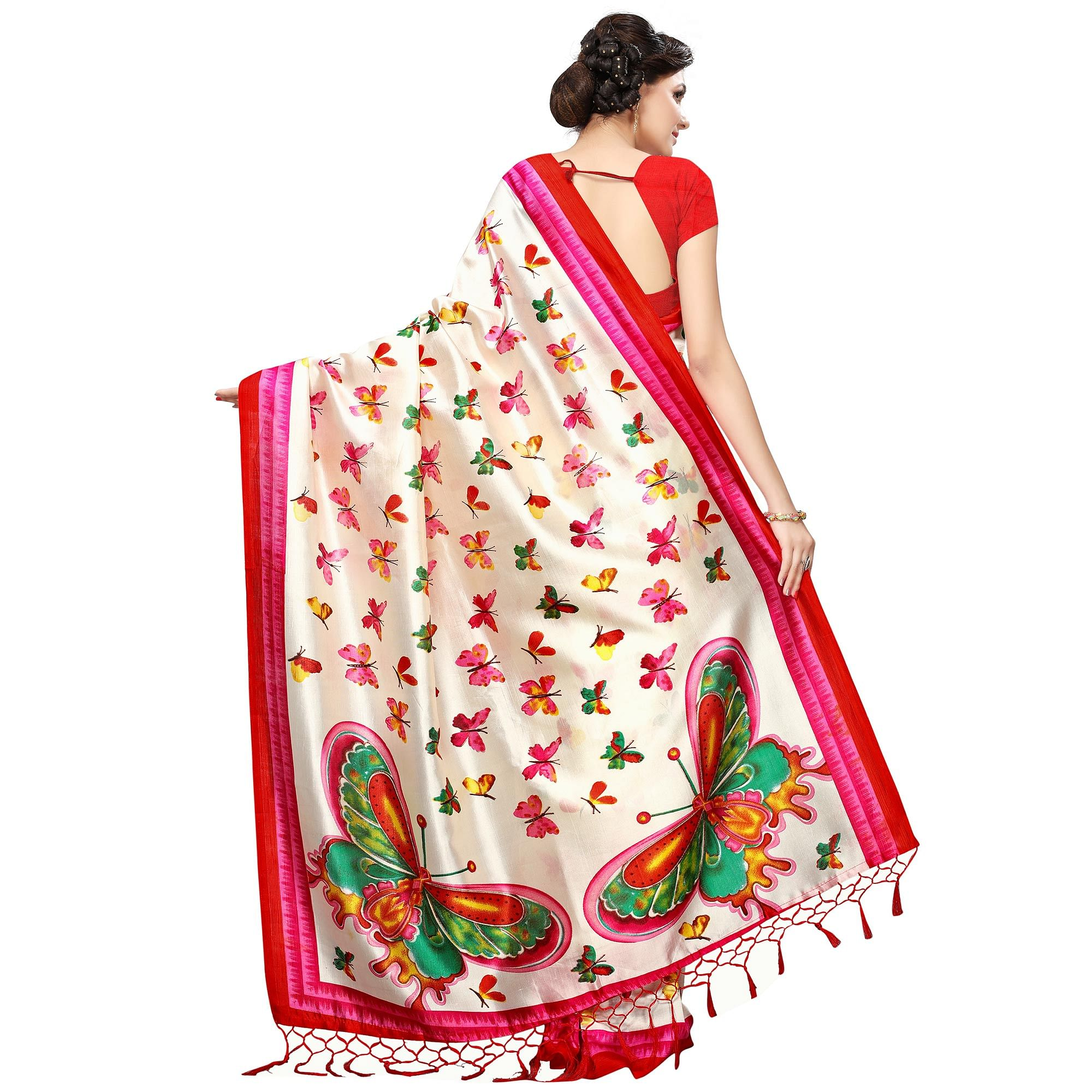 Staring Cream-Red Colored Casual Printed Khadi Silk Saree