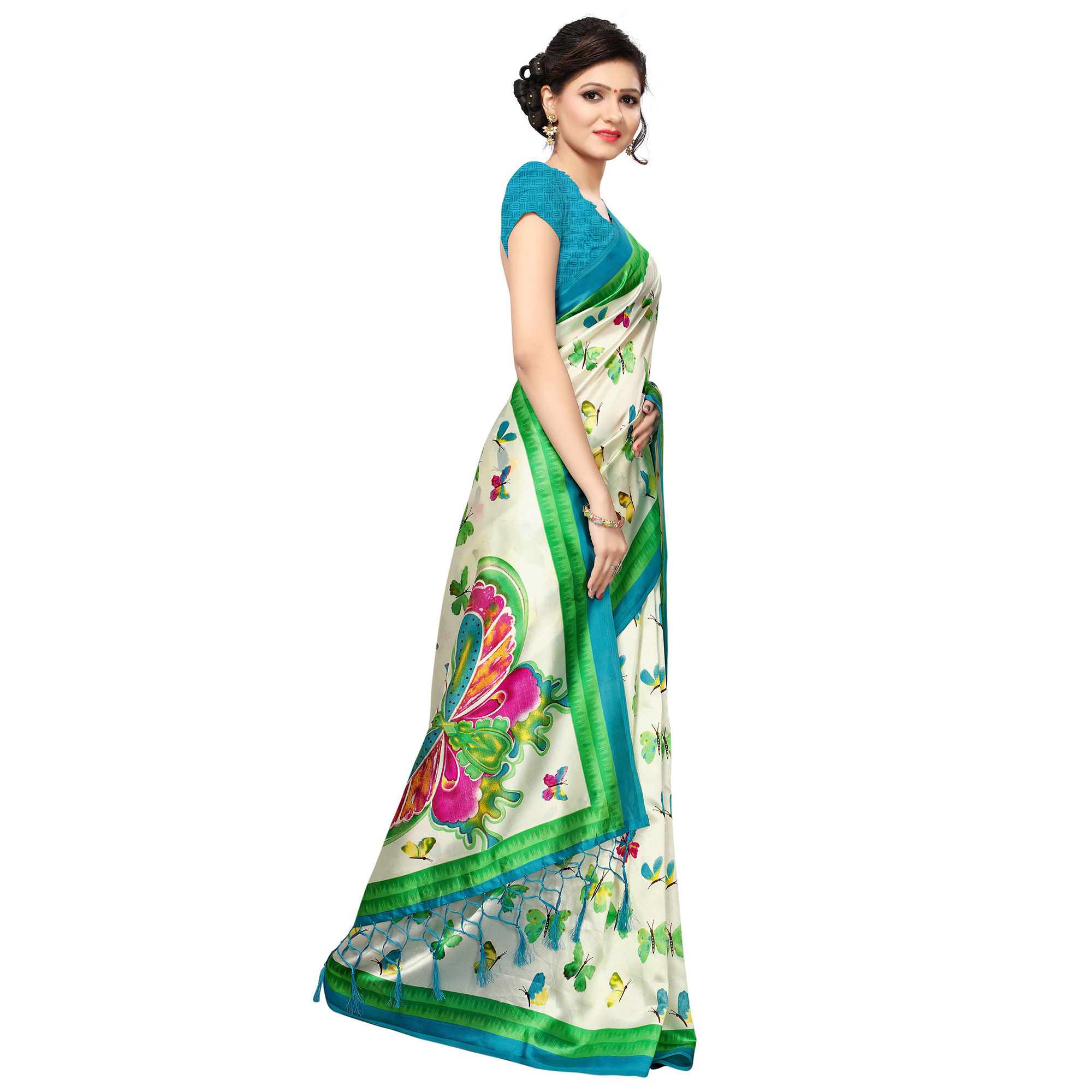 Pleasance Cream-Green Colored Casual Printed Khadi Silk Saree