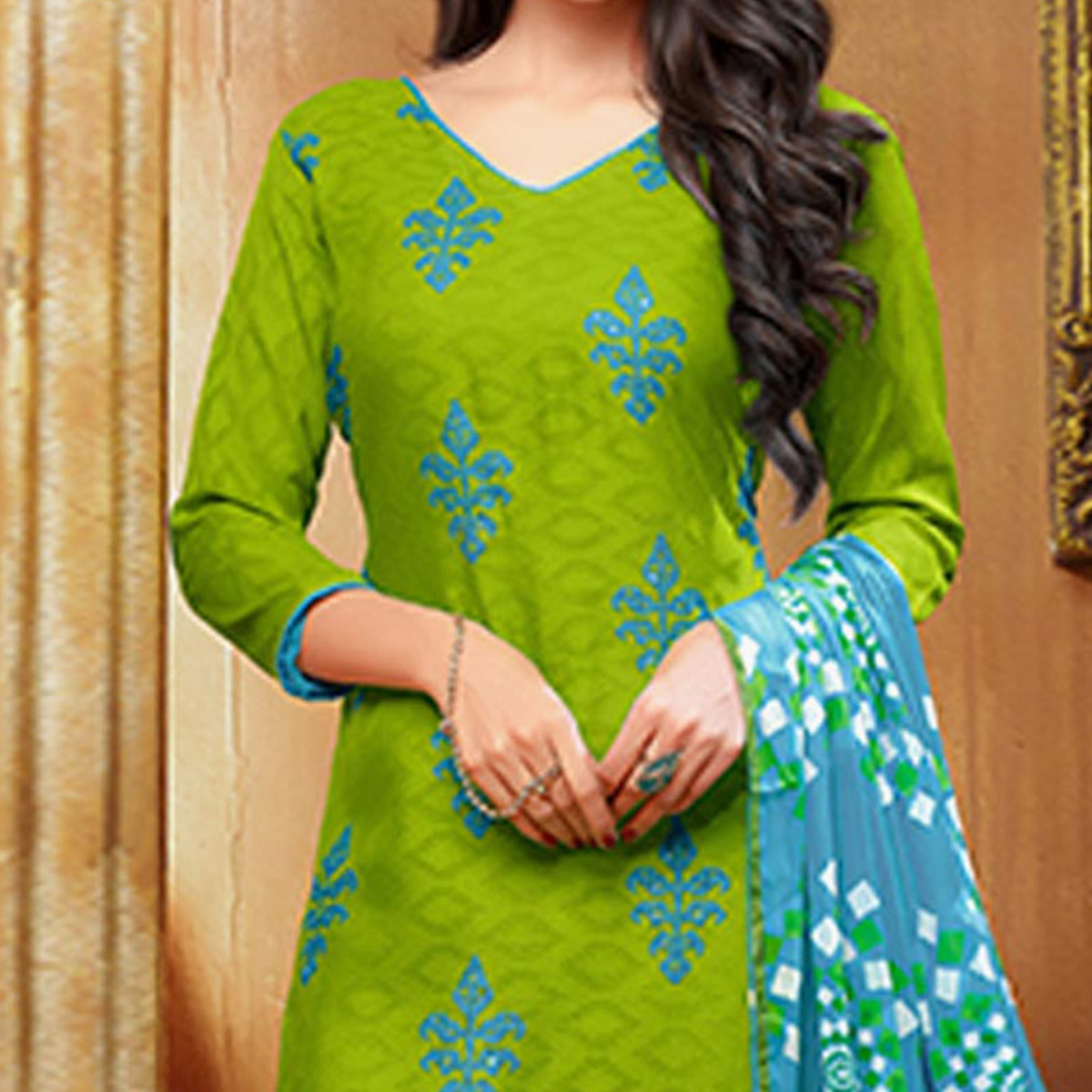 Ravishing Parrot Green and Blue Embroidered Semi Stitched Salwar Suit
