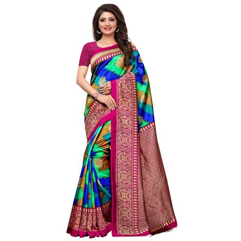 Prominent Blue-Green Colored Festive Wear Printed Mysore Art Silk Saree