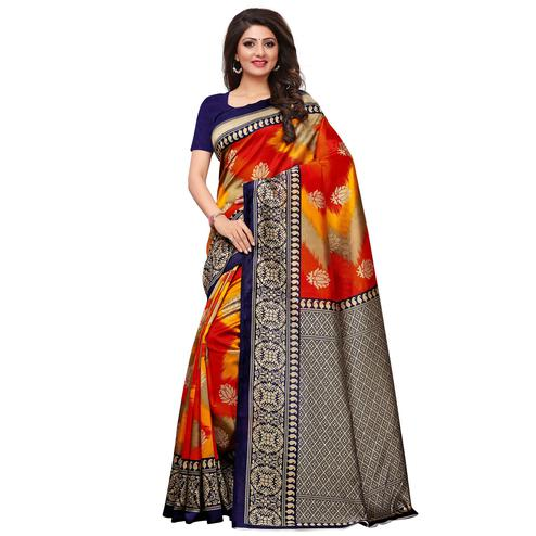 Capricious Red-Yellow Colored Festive Wear Printed Mysore Art Silk Saree