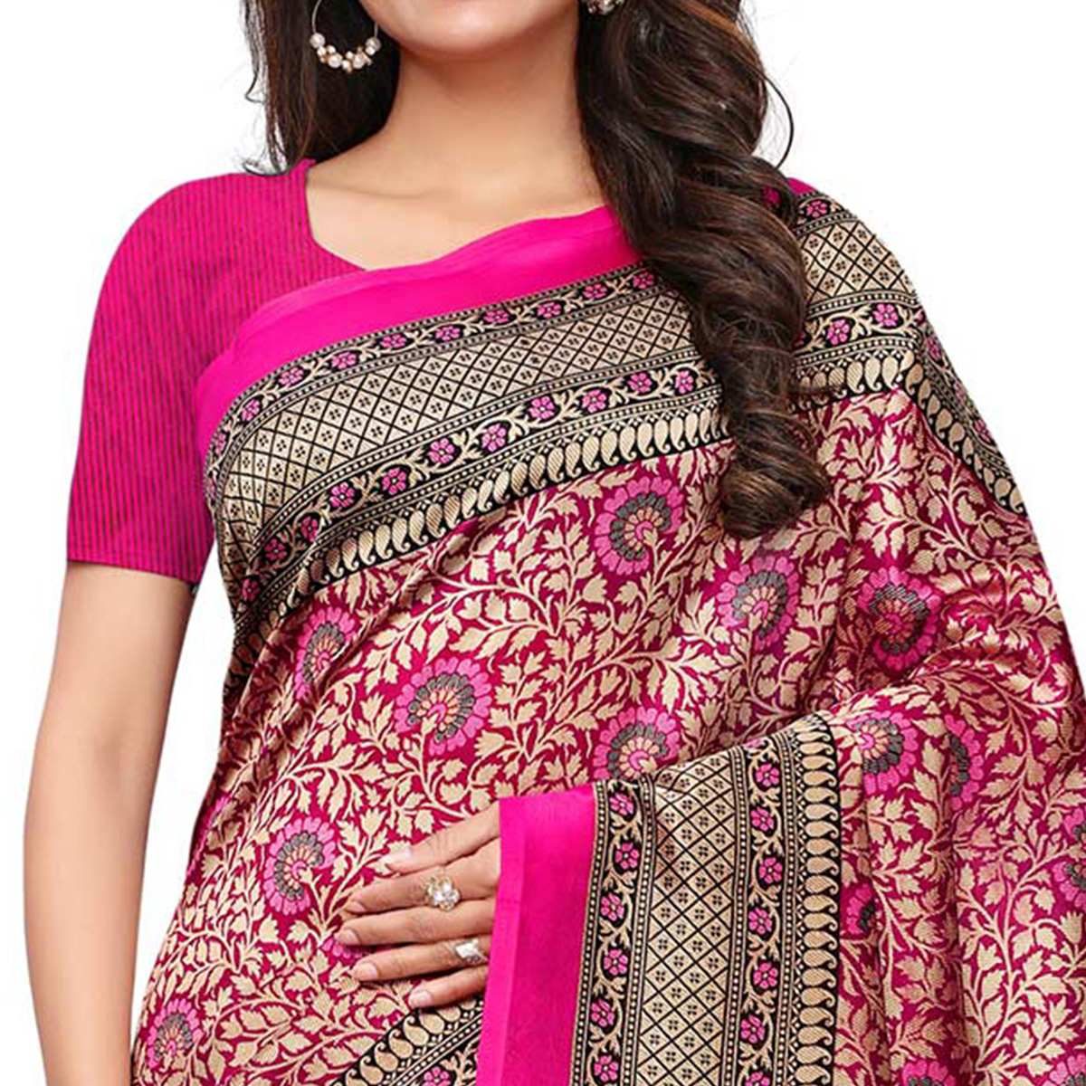 Gleaming Pink Colored Casual Printed Mysore Art Silk Saree