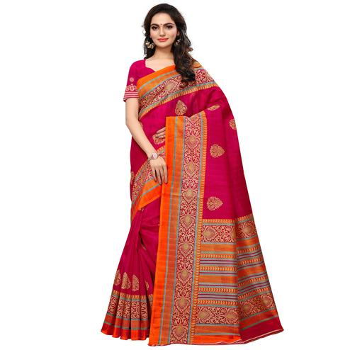 Arresting Deep Pink Colored Festive Wear Printed Mysore Art Silk Saree