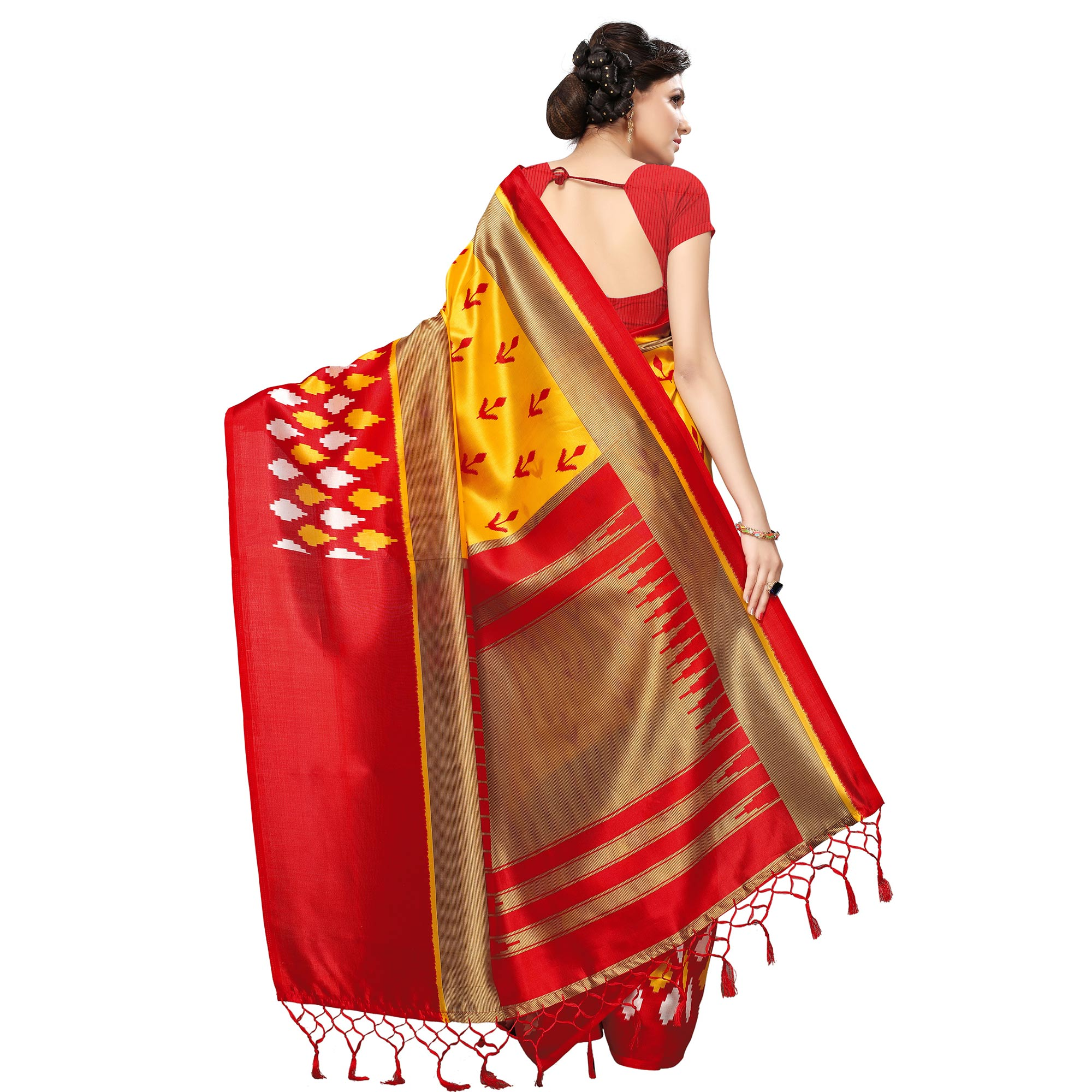 Exceptional Yellow Colored Casual Printed Mysore Art Silk Saree
