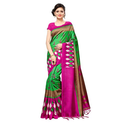 Excellent Green Colored Casual Printed Mysore Art Silk Saree