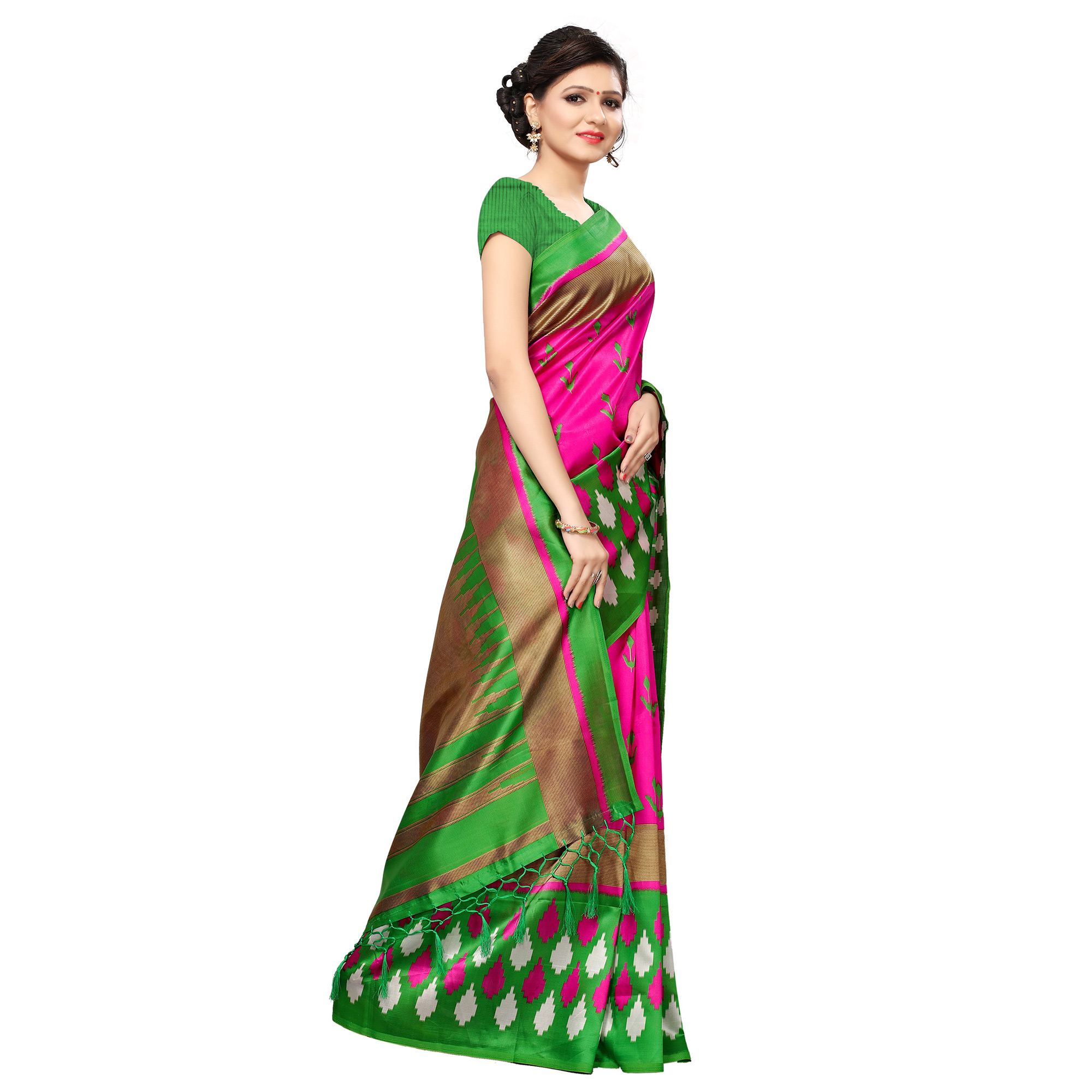 Delightful Pink Colored Casual Printed Mysore Art Silk Saree