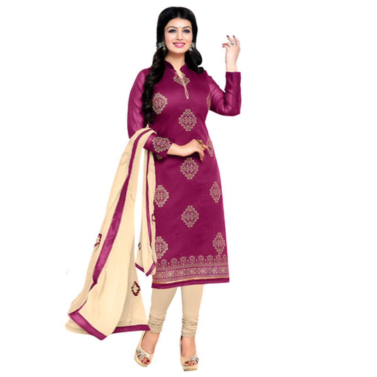 Dazzling Magenta and Cream Embroidered Semi Stitched Salwar Suit