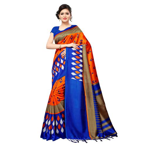 Stunning Orange Colored Casual Printed Mysore Art Silk Saree