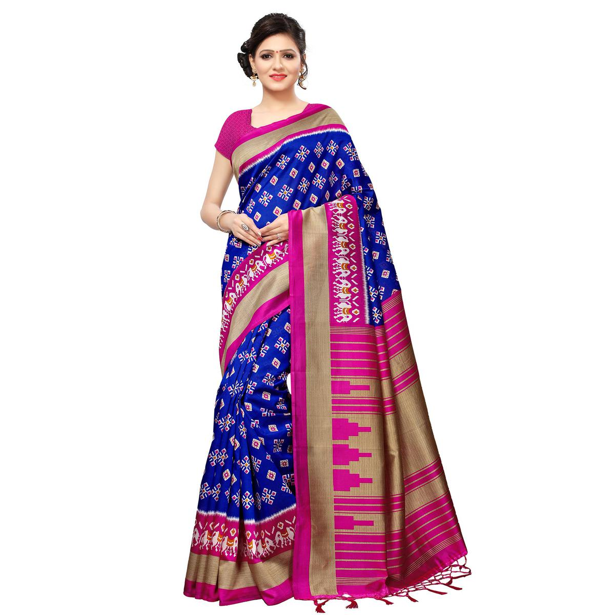 af87c4c509 Buy Blooming Blue Colored Casual Printed Mysore Art Silk Saree For ...
