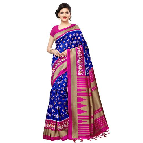 Blooming Blue Colored Casual Printed Mysore Art Silk Saree