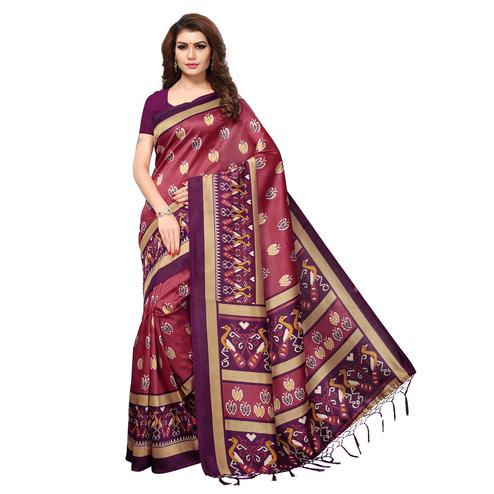Majesty Pink Colored Casual Printed Mysore Art Silk Saree