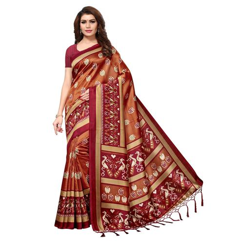 Gorgeous Brown Colored Casual Printed Mysore Art Silk Saree