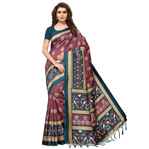 Classy Light Wine Colored Casual Printed Mysore Art Silk Saree