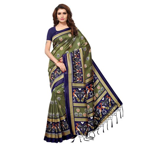 Glorious Olive Green Colored Casual Printed Mysore Art Silk Saree