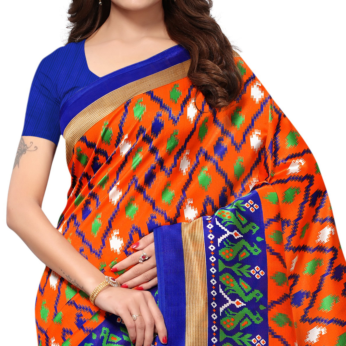 Graceful Orange Colored Casual Printed Mysore Art Silk Saree