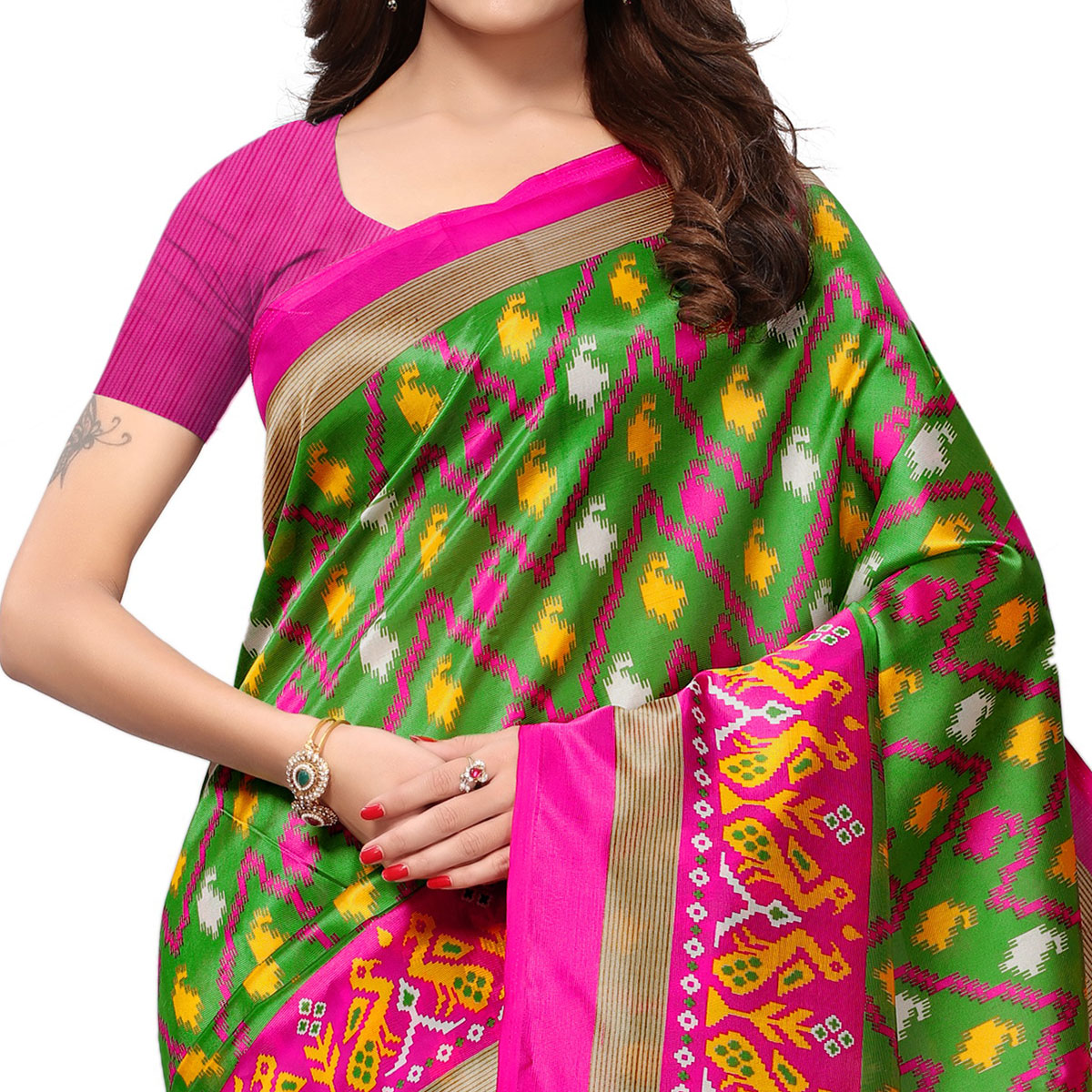 Lovely Green Colored Casual Printed Mysore Art Silk Saree