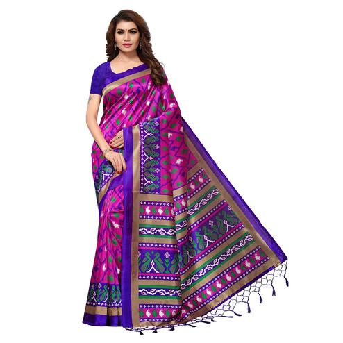 Pretty dark Pink Colored Casual Printed Mysore Art Silk Saree