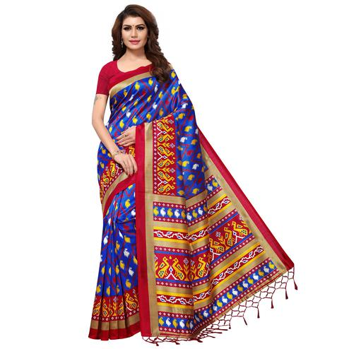 Opulent Blue Colored Casual Printed Mysore Art Silk Saree