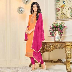 Flamboyant Orange and Pink Embroidered Semi Stitched Salwar Suit