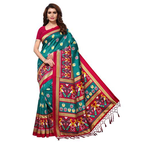 Dazzling Teal Blue Colored Casual Printed Mysore Art Silk Saree