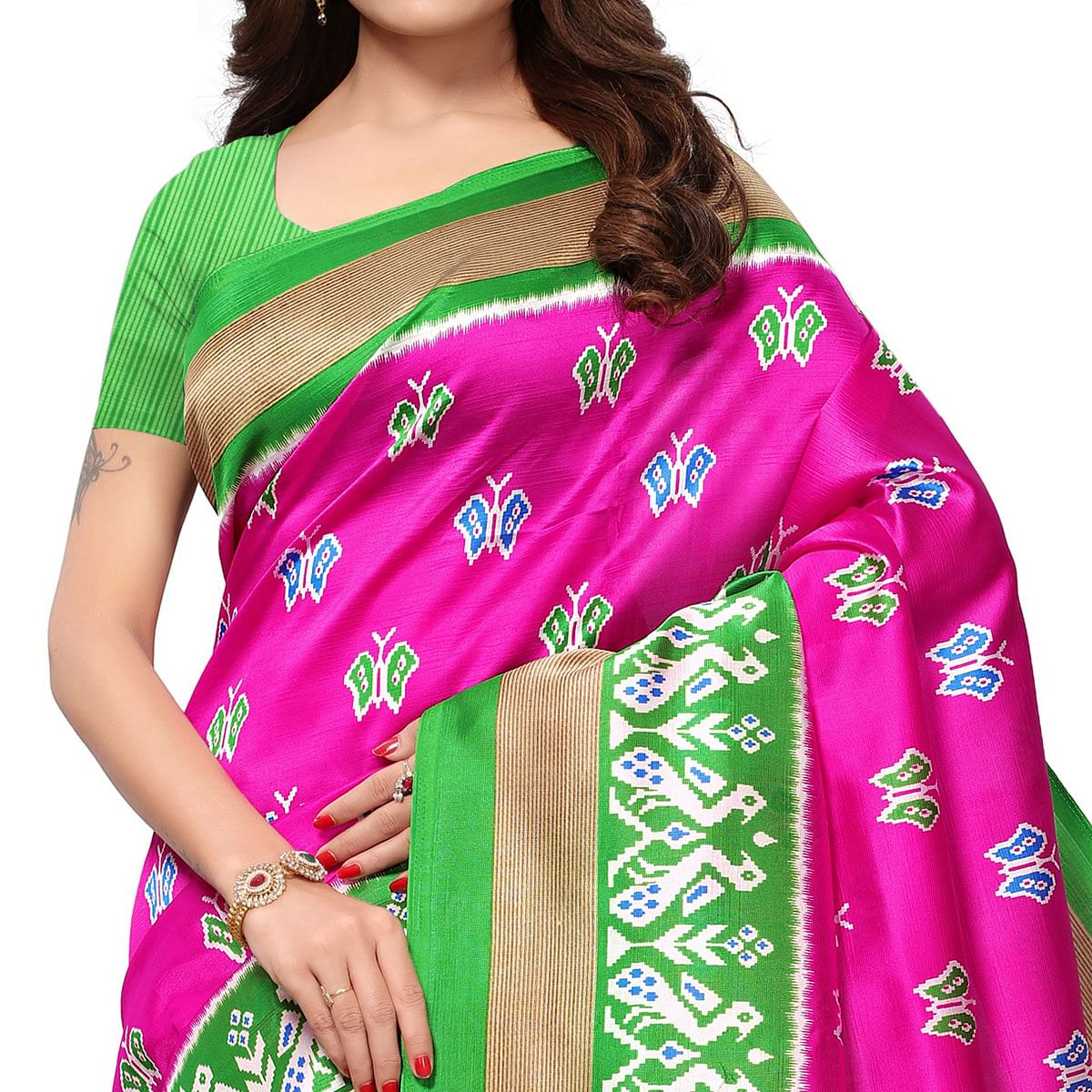 Flattering Deep Pink Colored Casual Printed Mysore Art Silk Saree