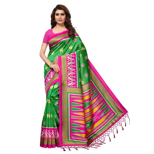 Breathtaking Green Colored Casual Printed Mysore Art Silk Saree